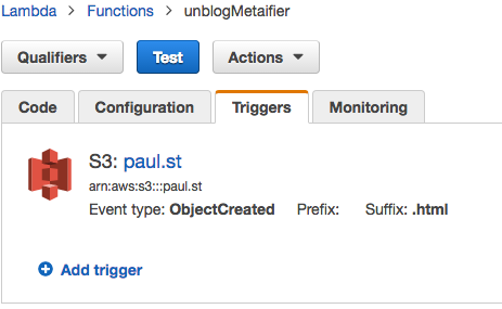 AWS Lambda dashboard, showing my function trigger for the `ObjectCreated` event.
